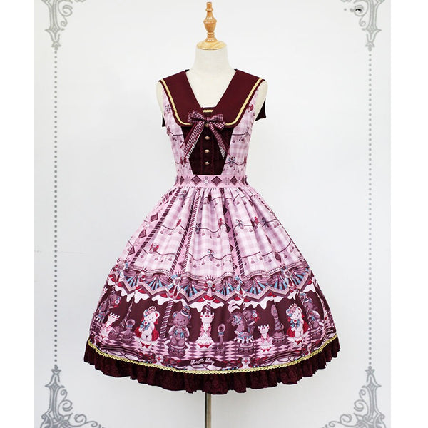 The Chocolate Bear ~ Sweet Printed Lolita JSK Dress with Detachable Collar by Soufflesong