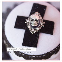 Gothic Lolita Hair Accessories Moon Skull Mini Top Hat Lolita Hairpin
