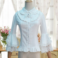 Victorian Lolita White/Black Blouse Women's Lace Long Flare Sleeve Lolita Shirt