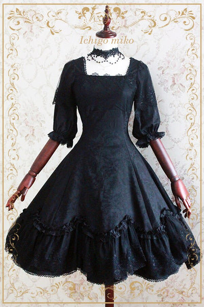 Elegant Vintage Style Lolita Black OP Dress Jacquard Flower Half Sleeve Black Dress