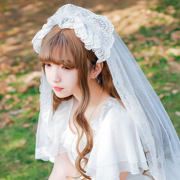 2019 New Short Wedding Veil Romantic Lace Lolita Elbow Veil