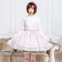 Sweet Pink Diamond Checkered Skirt Mori Girl Short Skirt with Ruffles
