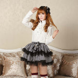 Classic Black and White Plaid Skirt Double Layered Punk Mini Skirt for Women