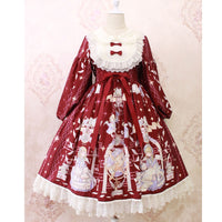 Sweet Long Lantern Sleeve Midi Dress ~ Angel's Book Printed Empire Waist Dress by Alice Girl ~ Pre-order