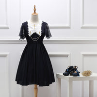 Gothic Lolita Chiffon Dress Short Batwing Sleeve Pointed Collar Embroidered Summer Dress Black/Red/Navy Blue