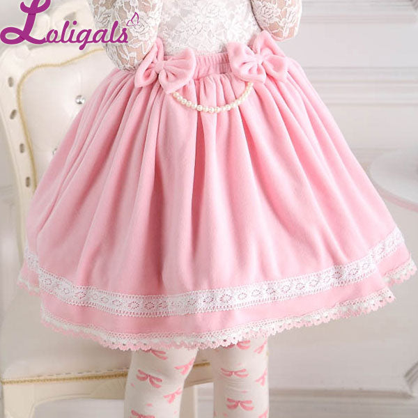 Sweet Pink Elastic Waist Pleated Lady's Lolita Skirt with Detachable Bow and Pearl Chain