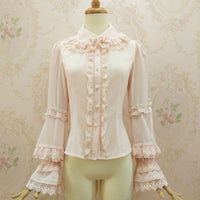 New Sweet Lolita Blouse with Double Layered Lace Collar Classic Women's Shirt
