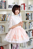 Sweet Short Skirt Pink Lilyand Butterfly Printed Lady's Lolita Skirt with Lace Trimming