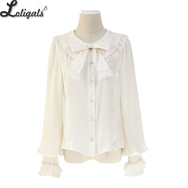 Sweet Women's Lolita Shirt Long Sleeve Round Neck Chiffon Blouse by Alice Girl ~ Pre-order