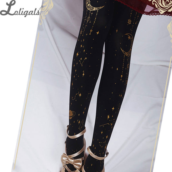 Black Star and Moon Printed Lolita Pantyhose Black White Patterned Tights by Ruby Rabbit