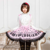 Sweet Mori Girl Pink/Sky Blue Music Note Printed Short Suspender Skirt for Summer