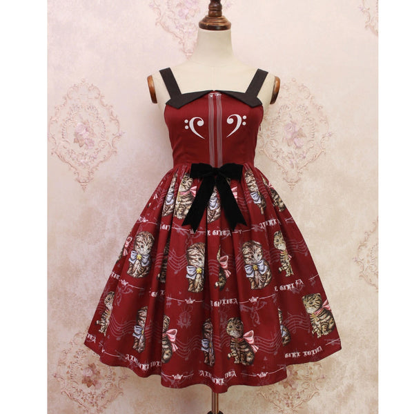 Retro Style Lolita Casual Dress Kitten & Music Printed Midi Dress by Alice Girl ~ Pre-order