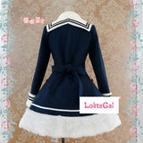 Classic Sailor Uniform Inspired Navy Blue Long Sleeve Double Breasted Metal Button Wool Winter Lolita Coat