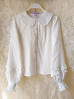 Sweet Mori Girl Lolita Blouse Pink/White Long Sleeve Peter Pan Collar Top