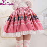 Pink Lolita Sweet Princess Alice's Concert Printed Lolita Lace Skirt for Girl