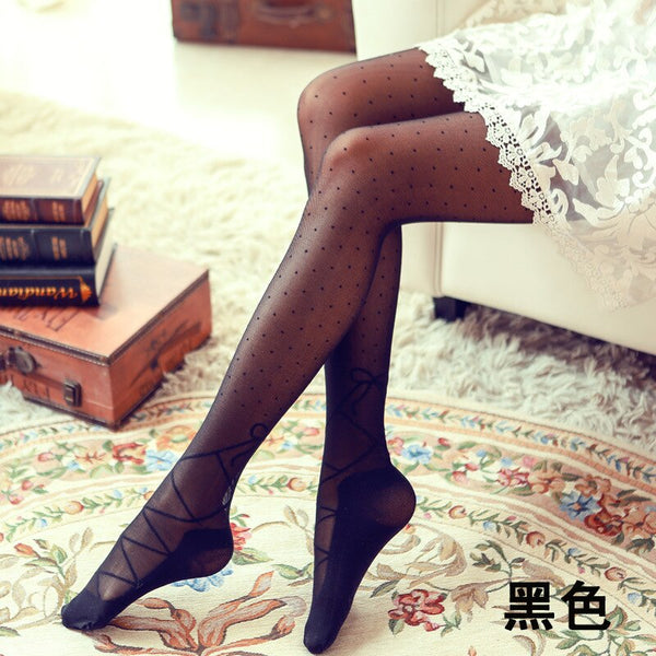 Beautiful Lace Up Pattern Dotted Women's Summer Tights Thin Jacquard Pantyhose