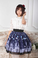 Sweet Dark Blue Church Printed Pleated A Line Skirt with Lace Trims