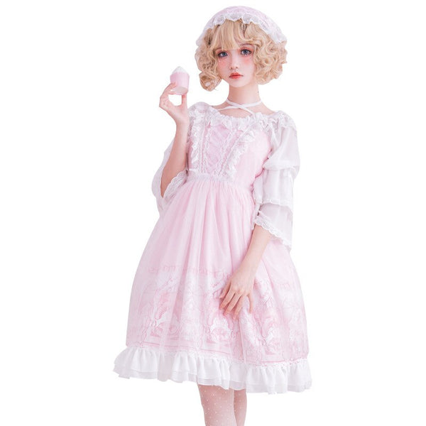 The Fairy Land ~ Sweet Pink Lolita Dress Sleeveless Princess Printed Party Dress