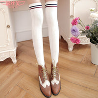 Twist Vertical Striped Thigh High Stockings Sweet Over the Knee Stockings for Women