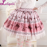 Sweet Bird in Cage Printed Lolita Pleated Lace Skirt Elastic Waist Short Skirt