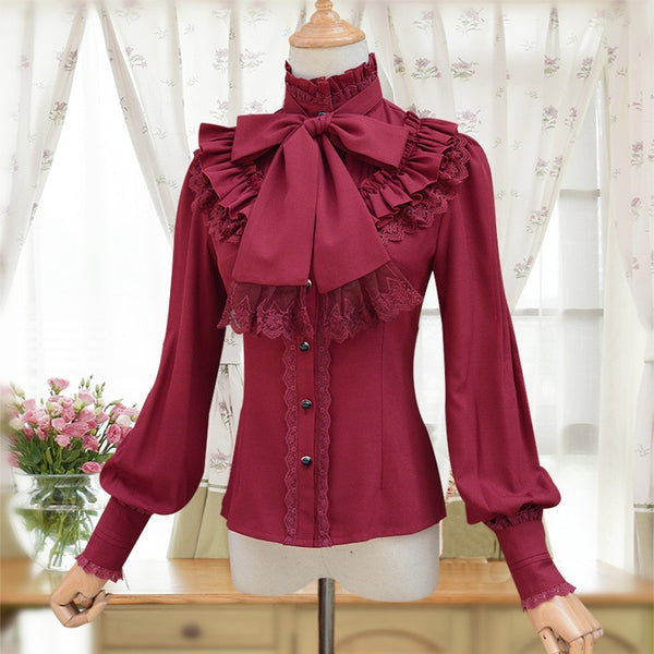 Vintage Women's Lolita Shirt Gothic Chiffon Ruffle Blouse Long Sleeve Blusas Black/White/Navy Blue/Burgundy