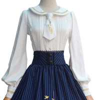 Lolita Blouse Sweet White Long Sleeve Embroidered Women's Shirt with Necktie