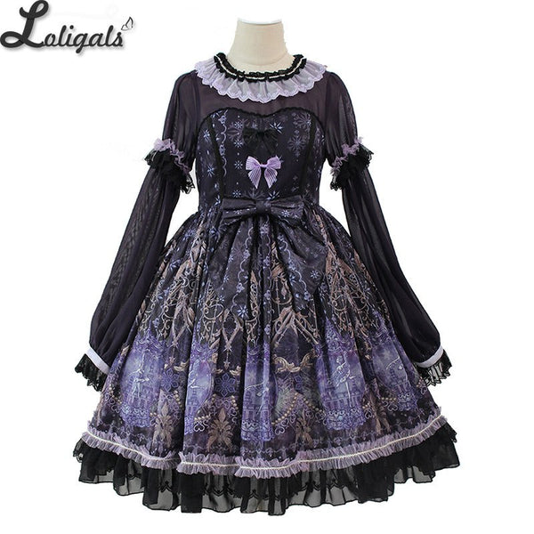 Snow Night Ballet ~ Sweet Long Sleeve Lolita Dress Printed Party Dress by Alice Girl ~ Pre-order
