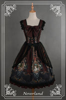The Rococo World ~ Printed Vintage Lolita JSK Dress with Lace Overcoat