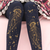 Sweet Jellyfish Printed Lolita Pantyhose Mori Girl Blue / Black Patterned Tights