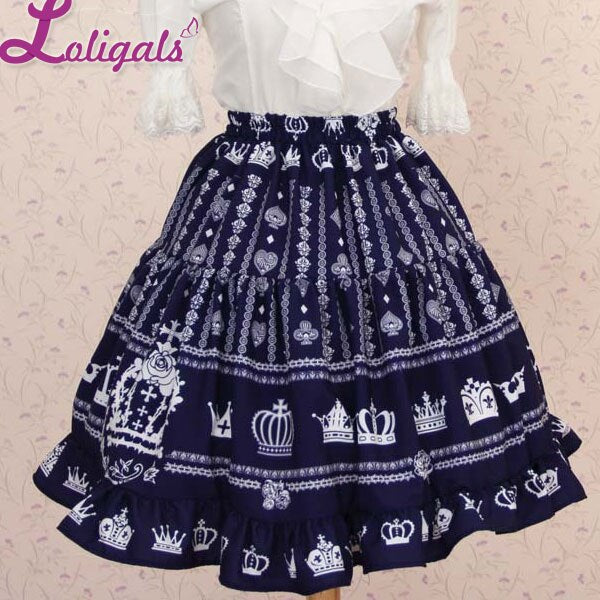 Lolita Sweet Princess Navy Blue Heart and Crown Printed Lady's Lolita Short Skirt for Girl