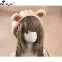Lovely Lolita Bear Ear Berets Cute Female Wool Berets for Winter