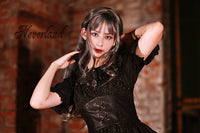 Serenade  ~ Black Gothic Sleeveless Asymmetrical Hem Lolita Dress by Soufflesong