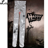 2019 Halloween Tights with Little Devil Print Gothic Lolita Pantyhose