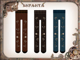 Infanta Branded Thick Pantyhose Steampunk Gear Printed Lolita Tights