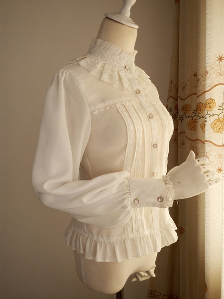Vintage Women's Chiffon Blouse Sweet Long Lantern Sleeve High Collar Shirt with Lace Detailing