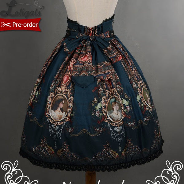 Retro Print Rococo Style Short High Waist Skirt by Soufflesong