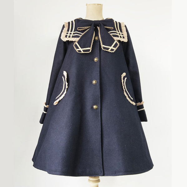 College Style Sailor Collar Single Breasted Coat for Women by Infanta