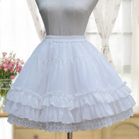 Sweet Lolita Chiffon Under Skirt Short A-line Cosplay Petticoat with Layered Ruffles
