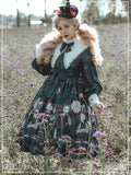 Toadstool & Bunny Printed Gothic Long Lantern Sleeve Casual Lolita Dress