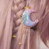 Sweet Mori Girl Moon Shape Haripin Resin Ombre Crown Lolita Hair Clip