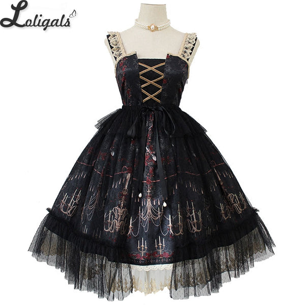 Chandelier Printed Gothic Lolita JSK Dress Sleeveless Halloween Midi Party Dress Pre-order by Alice Girl