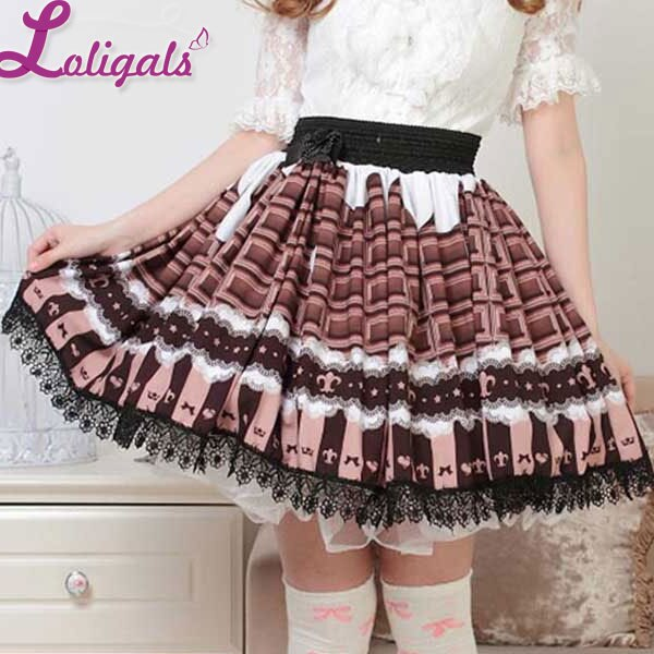 Japanese Style Lovely Chocolate Color Pleated Lace Lolita Skirt for Girl