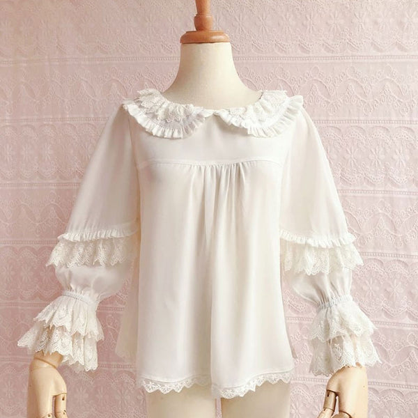 Sweet Women's Loose Chiffon Top Peter Pan Collar Lantern Sleeve Blouse