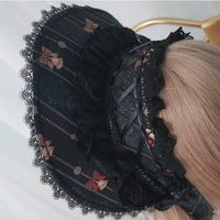 Sweet Lolita Bonnet with Chain Printed Women's Sun Hat