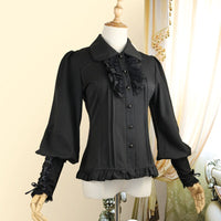 Vintage Women's Chiffon Blouse Long Lantern Sleeve Button Down Shirt 6 Colors