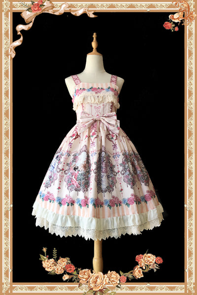 Flower Spirit ~ Sweet Lolita Printed Dress Sleeveless Midi Party Dress by Infanta