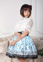 Sweet Light Sky Blue Melody Printed Elastic Waist Lace Lolita Skirt For Lady