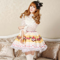 Lolita Sweet Light Yellow Original Design Cake and Strawberry Printed Girl's Short Cute Skirt