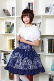 Sweet Mori Girl High Waist Skirt Blue Magic Circle Printed Lolita Short Skirt with Ruffles