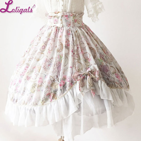 Gorgeous Asymmetrical Design A Line Lolita Skirt [Antique Clock] Series Sweet Lolita Ruffled Skirt by Soufflesong